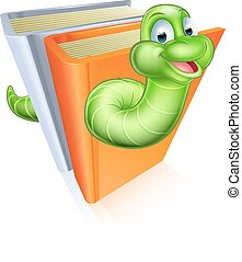 Cartoon bookworm concept - A cartoon bookworm concept of a...