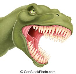 T Rex Dinosaur Head - An illustration of a detailed T Rex...