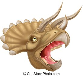 Triceratops Dinosaur Head - An illustration of a detailed...