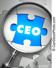 CEO - Puzzle with Missing Piece through Loupe - CEO - Chief...