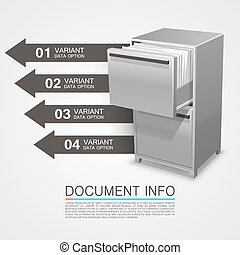 Closet safe with documents info. Vector Illustration