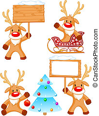 Reindeer Rudolph - Four separately grouped little Rudolphs...