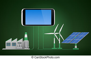 Ecofriendly concept Green factory, wind turbine and solar...