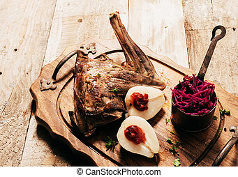 Roasted Venison Haunch with Pears on Wooden Tray - Angled...