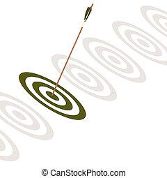 Arrow hitting the center of a green board