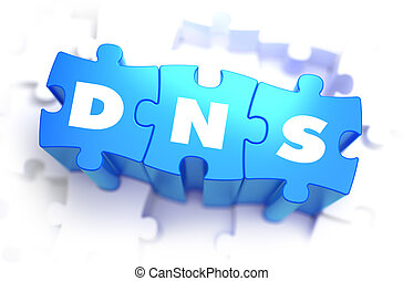 DNS - White Word on Blue Puzzles. - DNS - Domain Name System...