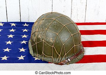 wwii helmet on american flag - wwii military helmet on...