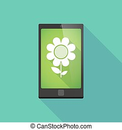 Long shadow phone icon with a flower - Illustration of a...