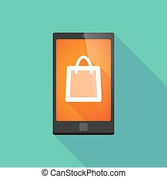 Long shadow phone icon with a shopping bag