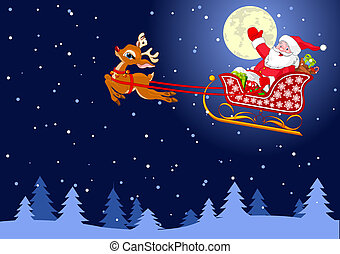 Santas Sled - Vector background with Santa Claus flying his...