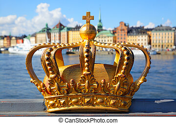 Crown in Stockholm - The crown on a bridge in Stockholm,...