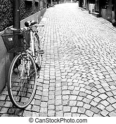 Side street in Stockholm Black and white image