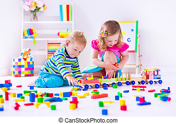 Kids playing at day care - Kids play at day care. Two...