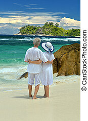Elderly couple standing on the beach embracing - Beautiful...