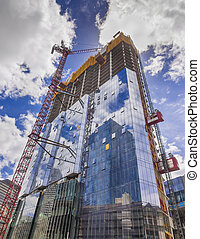 New glass building construction