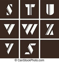 alphabet. Letters of geometric shapes and lines
