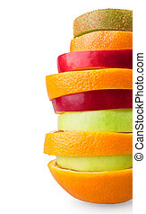Fruit slices on white background
