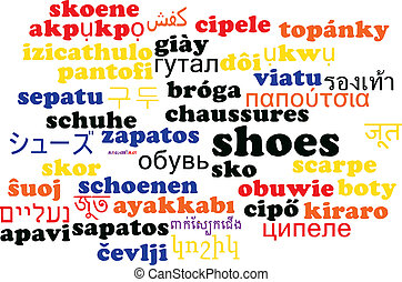 Shoes multilanguage wordcloud background concept -...
