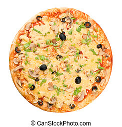 Whole pizza on white background