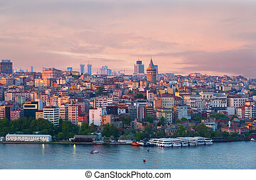 Quarter of Beyoglu and Galata tower at sunrise, Turkey