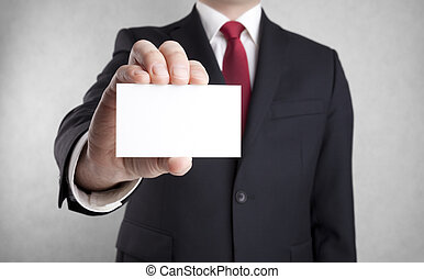 Man showing blank business card. - Businessman showing blank...