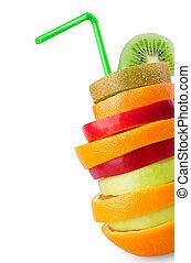 tropical, mezclado, fruta,
