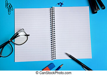 Notebook and office supply - Empty notebook and office...