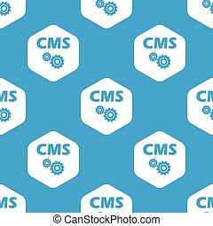 CMS settings hexagon pattern - Blue text CMS with gears in...
