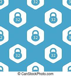 Dumbbell hexagon pattern - Blue image of dumbbell in white...