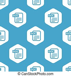 Doc file hexagon pattern - Blue image of file with text DOC...