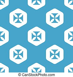 Maltese cross hexagon pattern - Blue image of maltese cross...