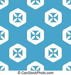 Maltese cross hexagon pattern - Blue image of maltese cross...