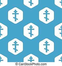 Orthodox cross hexagon pattern - Blue image of orthodox...