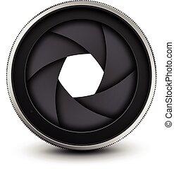 Camera shutter - Camera lens shutter, vector illustration.