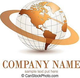 Logo globe. - Logo earth globe, gold planet with dynamic...