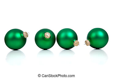 Green christmas ornaments/baubles on White