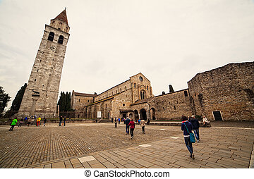 Basilica di Santa Maria Assunta and bell tower of Aquileia,...