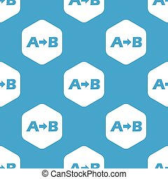 A to B hexagon pattern - Blue letters A, B and arrow...