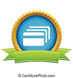 Credit card round icon - Round icon with ribbon, with image...