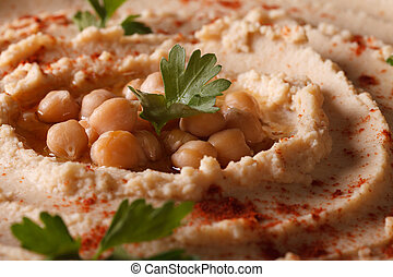 hummus with paprika and herbs macro horizontal - Fresh...