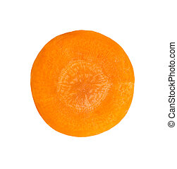 Carrot slice on white background