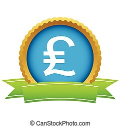 Pound sterling round icon - Round icon with ribbon, with...