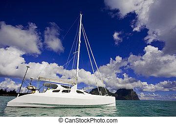 White Katamaran on water