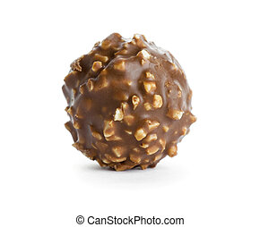 Chocolate candy on white background