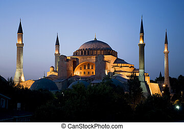 Hagia Sophia at sunset - Sunset shot of one of the principal...
