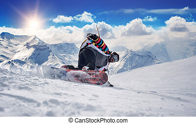 Extreme snowboarding man - Winter Scenic in the French Alps,...