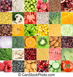Healthy food backgrounds - Collection of healthy fresh food...