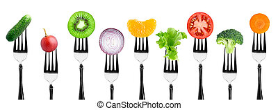 Fruits and vegetables on the forks Healthy food