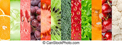 Healthy food backgrounds - ?ollage with different fruits,...