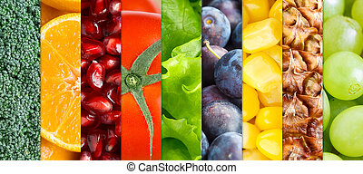 Background of healthy fruits and vegetables